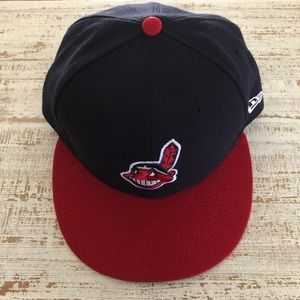 Fitted Navy & Red Cleveland Indians Hat